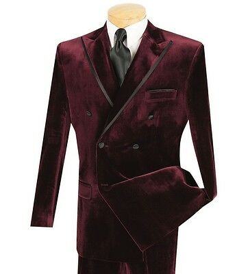 Men's Burgundy Velvet Double Breasted Classic Fit Tuxedo Suit w/ Sateen Trim NEW