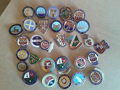 30 x  London bowling clubs Metal Pin Badges Listed