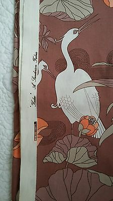 Vintage Mid 1970s Sanderson 'Kalao' Lily & Heron Fab Print Cotton Fabric XL 16ft