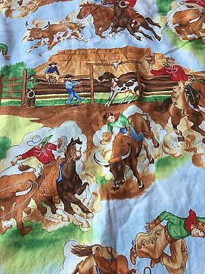 """Vintage Fabric Cowboy Rodeo Baby blanket Quilt 28"""" X 44"""""""