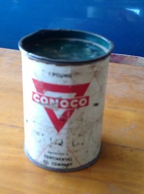 VINTAGE CONOCO GAS / OIL Co. ADVERTISING GREASE 1 POUND CAN CONTINENTAL OIL CO.