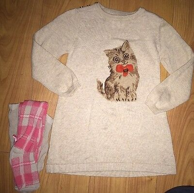 Mayoral Super Cute Knitted Kitty Dress And Matching Tights Age 3