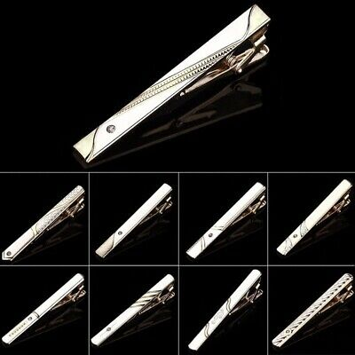 Wedding Party Men Plain Chrome Stainless Steel Standard Tie Clip Clasp Bars Pins