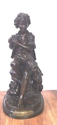 Eugene Antoine Aizelin French 19C Bronze Statue Of Boy Carving His Dog In Cane