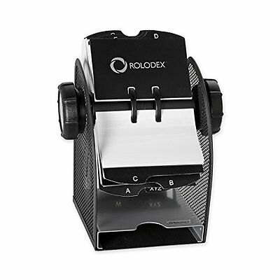 Rolodex Two-Tone Mesh Rotary Business Card File, 400-Card, Black and Silver
