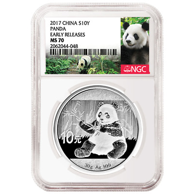 2017 10 Yuan Silver China Panda NGC MS70 Early Releases Panda Label