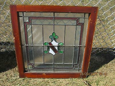 Antique Vintage Stained Glass Window Shield Center Frosted Glass With Dark Red