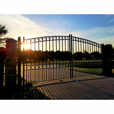 ALEKO Paris Style Ornamental Iron Wrought Dual Driveway Gate 12' High Quality