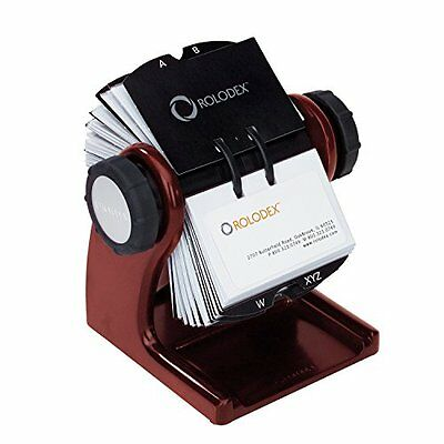 Rolodex Wood Tones Collection Open Rotary Business Card File, 400-Card, Mahogany