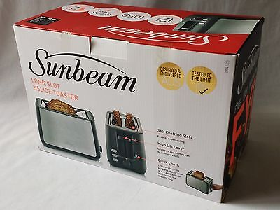 Black Sunbeam Long Slot 2 Slice Toaster In Box - Excellent Condition Little Use