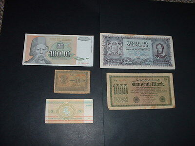 5 Old  World Banknotes  As In Picture   N7