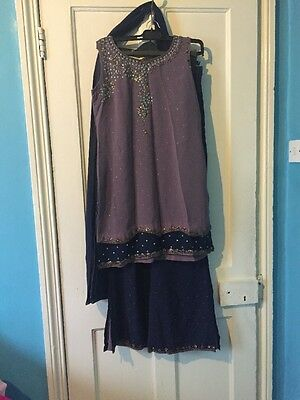 Women's Purple/grey And Navy Churidar Suit, Size Small