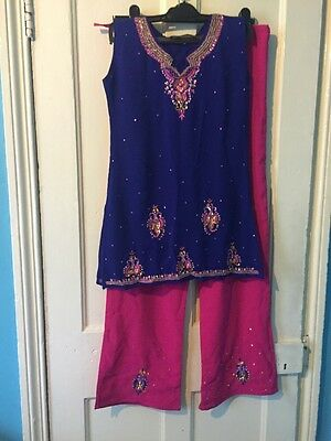 Women's Brand New Churidar Navy Blue And Pink Suit, Size Small