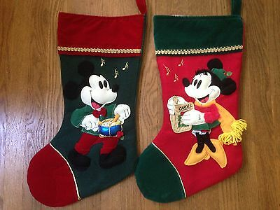 Two Classy Disney Mickey & Minnie Traditional Music/Song Christmas Stockings