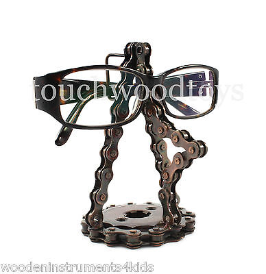 Glasses holder handmade upcycled bicycle chain glasses stand gifts for cyclists