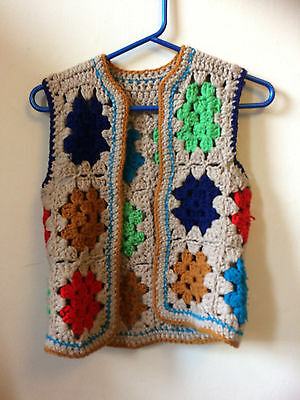 crochet multcoloured small child's waistcoat hand knitted vintage 70's