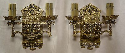 PR 1920's French DORE BRONZE 2 LIGHT SCONCES for ENTRY, MANTLE, HALL - ELECTRIC