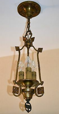 1920's French DORE BRONZE CHANDELIER/FIXTURE w/3 ELECTRIC CANDLE LIGHTS