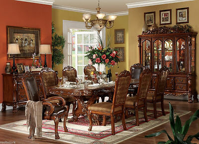 New 9 pc Dresden Double Pedestal Cherry Oak Finish Formal Dining Table Set