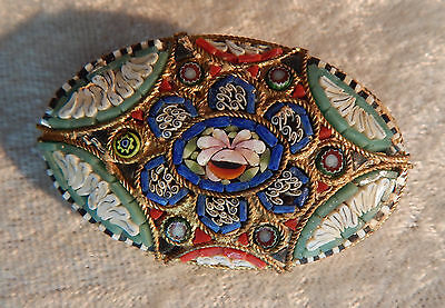 Antique Micro Mosaic Pin Brooch Italy Oval Tile + Venetian Art Glass Vintage