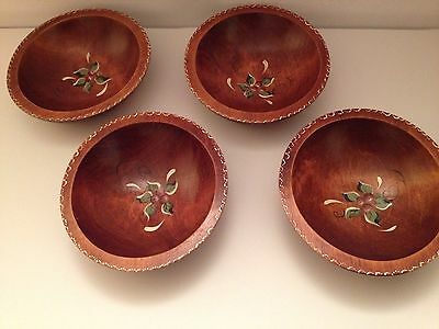 Baribocraft Tole Painted Individual Salad Bowl Set 4 Canada Teak Stained Maple