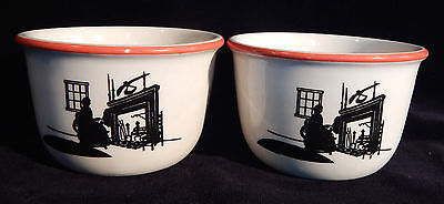 2 Harker Pottery Modern Age Silhouette Colonial Lady Custard Pudding Cups