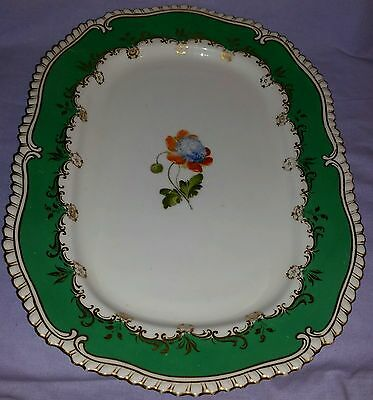 Antique 19Th Century Hand Painted Large Serving Platter