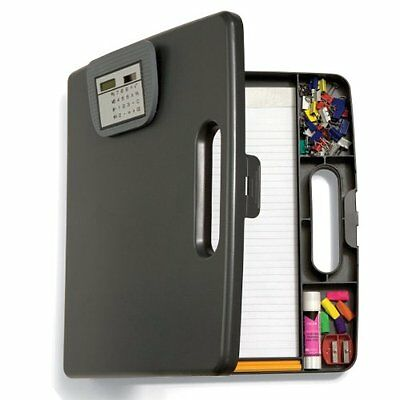Officemate Portable Clipboard Case with Calculator, Gray 83372