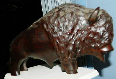 Vintage Wooden Standing BUFFALO Figurine Hand Carved in Mexico for Jo Ba