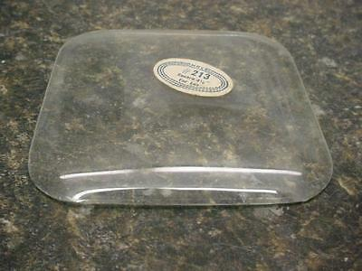 """used HRC #213 Lux 4-1/8"""" Square Convex Replacement Clock Glass Craft E428Bb"""