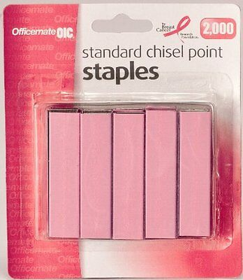 Officemate Breast Cancer Awareness Standard Staples, 105 per  Strip, Pack of