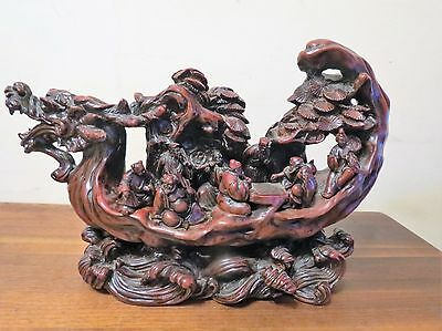Very Well-Carved  Chinese Dragon Boat With Multiple Passengers