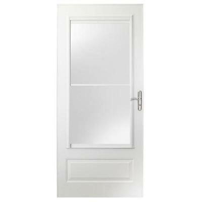 EMCO 400 Series 36 in.White Aluminum Self-Storing Storm Door w/ Nickel Hardware