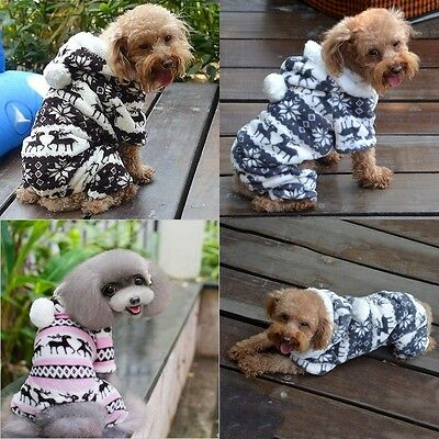 Pet Dog Puppy Cute Warm Winter Sweater Hoodie Jumpsuit Coat Clothes Outwear b15