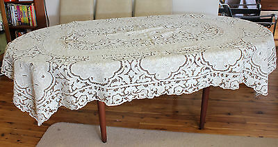 Antique Embroidered Cutwork Rectangular 6 Seater Tablecloth Vintage