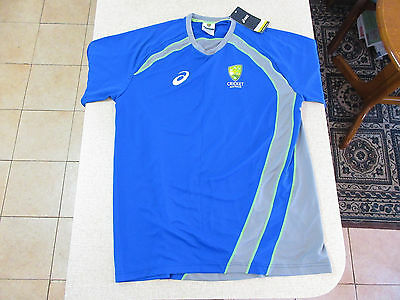 Men's CRICKET AUSTRALIA ASICS Replica Training Tee Size XL T-Shirt Blue New Tags