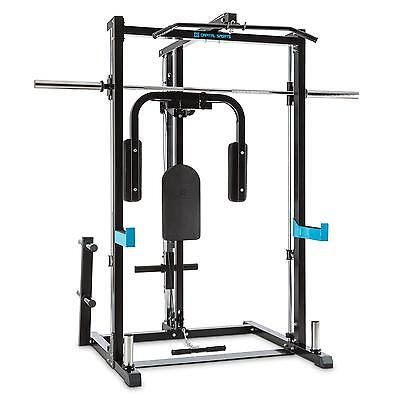 Capital Sports Half Rack Power Gym Butterfly Home Row Pull Barbell 210 Cm Weight