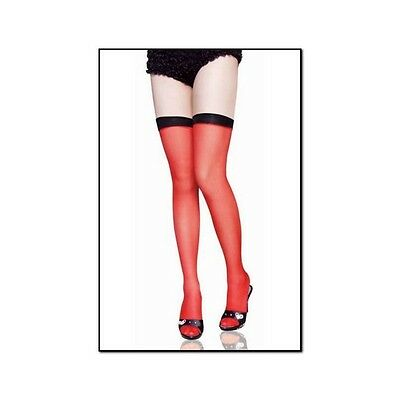 Sexy Calze Velate Rosse Con Fascia Nera  One Size  D905102