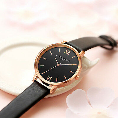 Fashion Women Mens Stainless Steel Leather Retro Roman Analog Quartz Wrist Watch