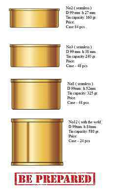 New Tin Cans with Ring-pull Lids 99mm diameter 4 Sizes available