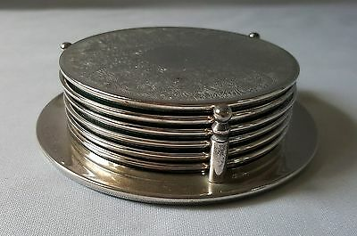 Set Of Six Vintage C1970's Silver Plate Drink Coasters In Their Original Stand
