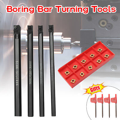 4pcs 6/7/8/10mm SCLCR06 Turning Tool Lathe Boring Bar + 10x CCMT060204-HM Insert