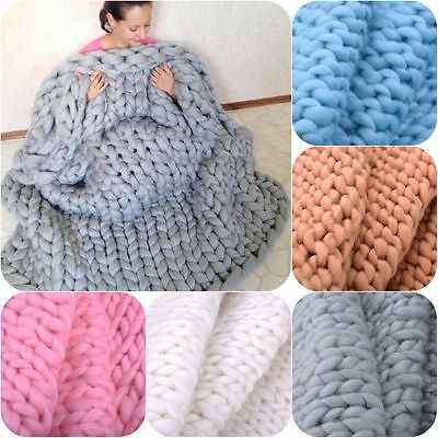 120*150 Fashion Hand Knitted Carpet Merino Wool Chunky Knit Baby Home Blanket
