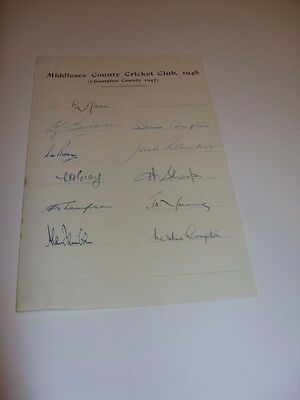 MIDDLESEX COUNTY CRICKET 1948  D,Compton L,Compton B,Edrich + 8 Signed Page