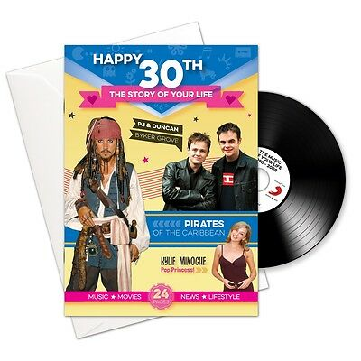RetroCo 30th Birthday Booklet 4-in-1 Gift & Card with Music Download