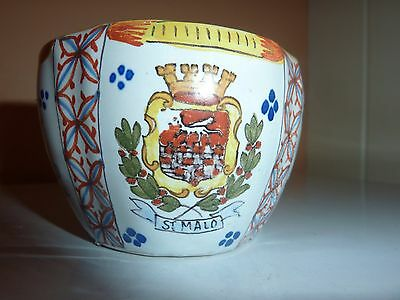 19Thcent Quimper/french Faience Pottery 8.5Cm Diam Cup With St.malo & Decoration