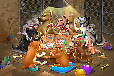 The Day Dreamer Dogs Playing Cards WALL ART CANVAS FRAMED OR POSTER PRINT