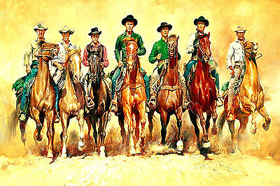 The Magnificient Seven 7 Abstract Horses WALL ART CANVAS FRAMED OR POSTER PRINT