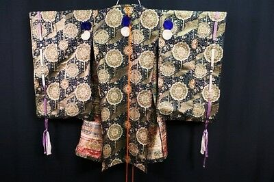 Vintage Japanese Child's Blue/Gold Sparkly Brocade Kimono Coat Fancy Dress GIFT?