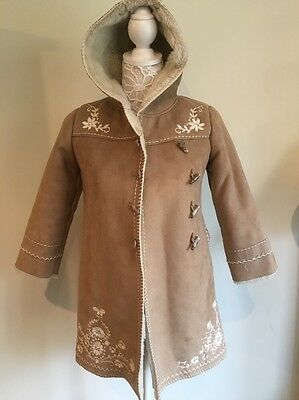 Monsoon Faux Suede & Fur Coat Hooded 6-8 Yrs Brown With White Lining Embroidery